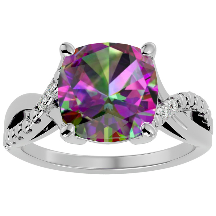 4ct Cushion Cut Mystic Topaz and Diamond Ring in 10k White Gold 6894