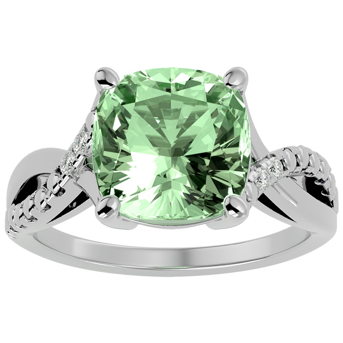4ct Cushion Cut Green Amethyst and Diamond