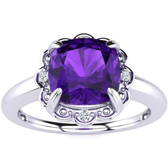 2ct Cushion Cut Amethyst and Diamond Ring