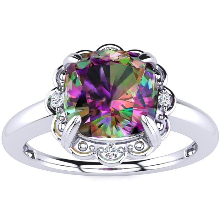 2ct Cushion Cut Mystic Topaz and Diamond Ring in 10k White Gold 6901