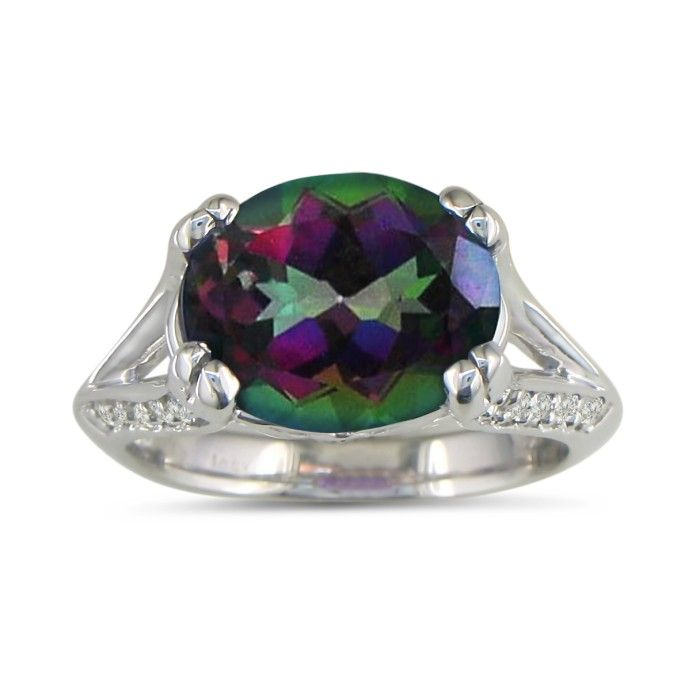 3 3/4ct Oval Mystic Topaz and Diamond Ring in 14k White Gold 6906