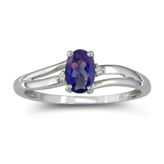 Image of .60ct Oval Amethyst and Diamond Ring in 10k White Gold