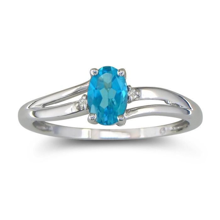 Image of .60ct Oval Blue Topaz and Diamond Ring in 10k White Gold