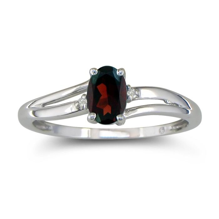 Image of .60ct Oval Garnet and Diamond Ring in 10k White Gold