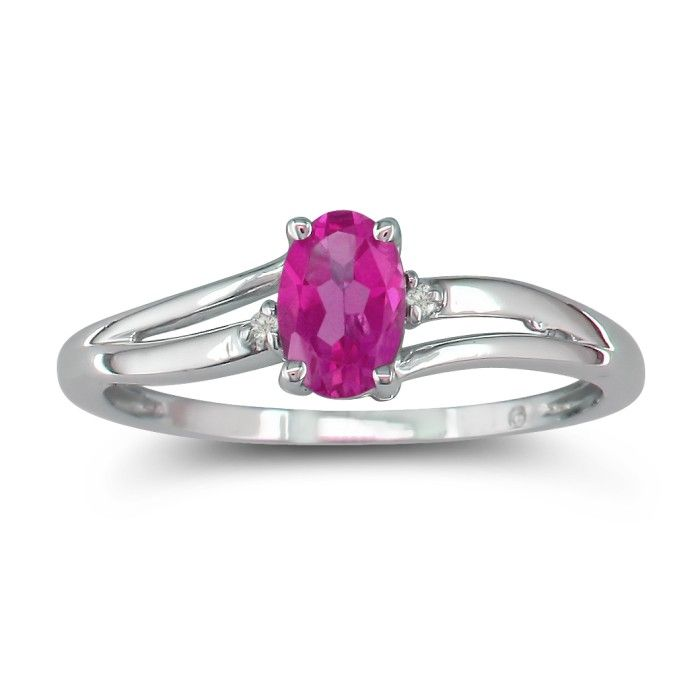 Image of .60ct Oval Pink Topaz and Diamond Ring in 10k White Gold