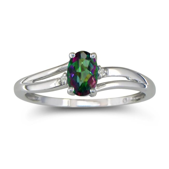 Image of .60ct Oval Mystic Topaz and Diamond Ring in 10k White Gold