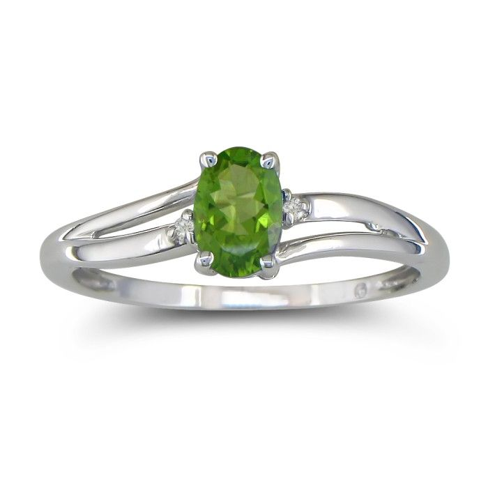 Image of .60ct Oval Peridot and Diamond Ring in 10k White Gold