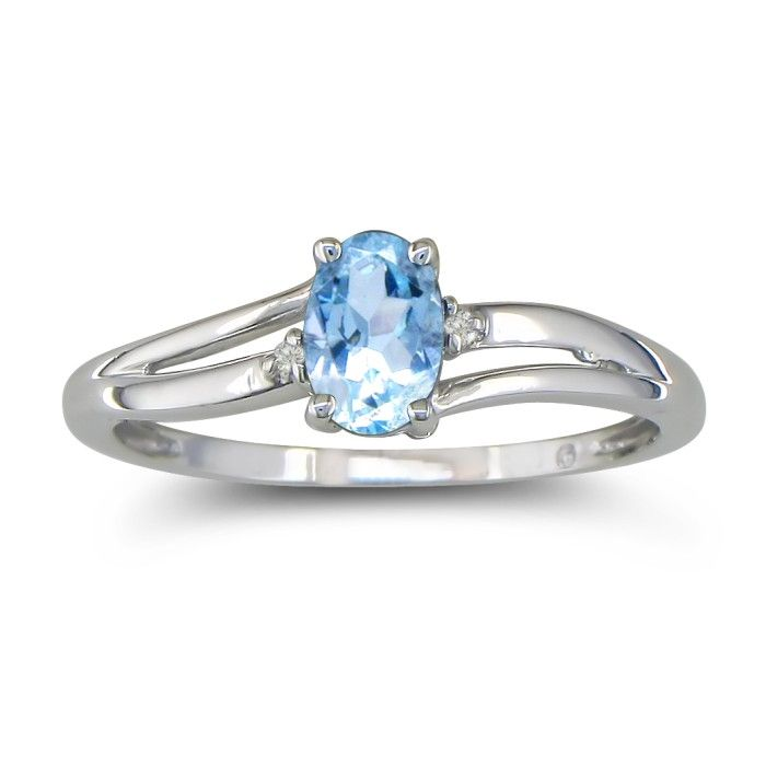 Image of .60ct Oval Aquamarine and Diamond Ring in 10k White Gold