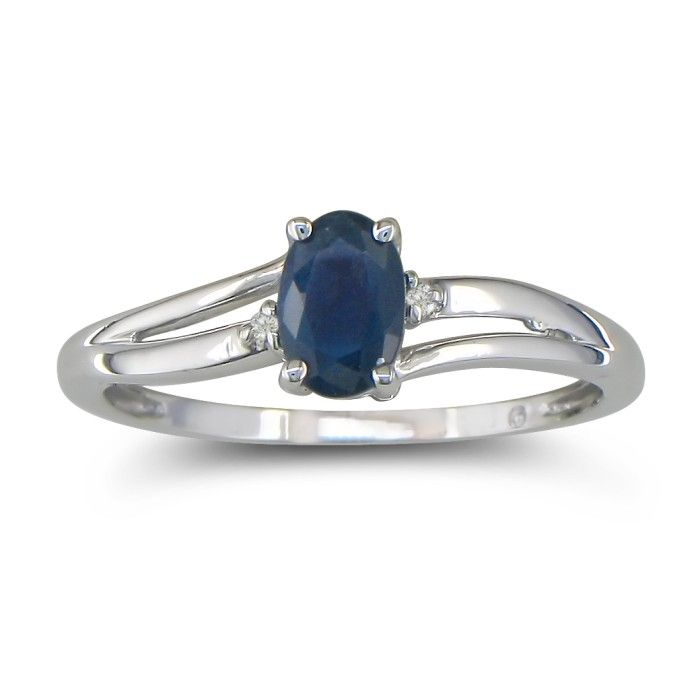 Image of .60ct Oval Sapphire and Diamond Ring in 10k White Gold