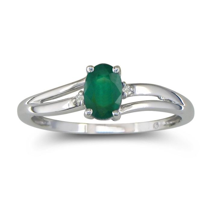 Image of .60ct Oval Emerald and Diamond Ring in 10k White Gold