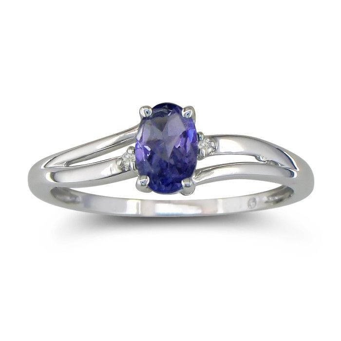 Image of .60ct Oval Tanzanite and Diamond Ring in 10k White Gold
