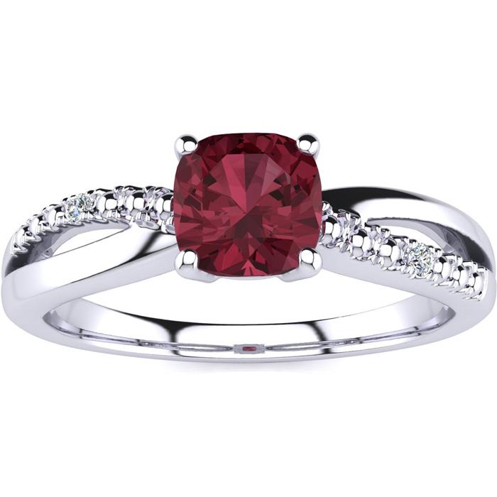 3/4ct Cushion Cut Garnet and Diamond Ring