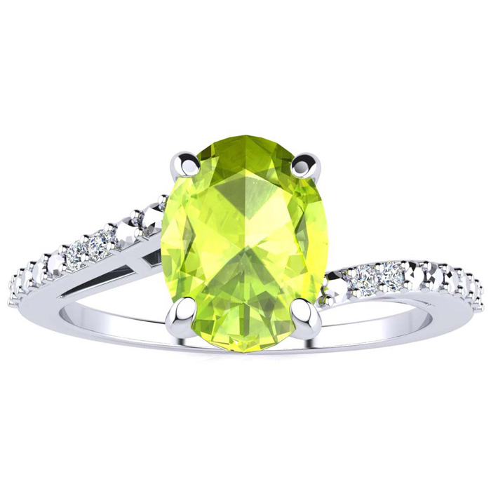 1 1/2ct Oval Peridot and Diamond Ring