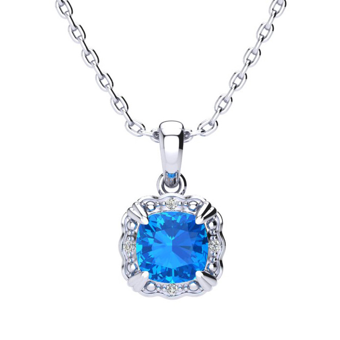 2.5 Carat Cushion Cut Blue Topaz & Diamond Necklace in 10K White Gold (2.50 ..
