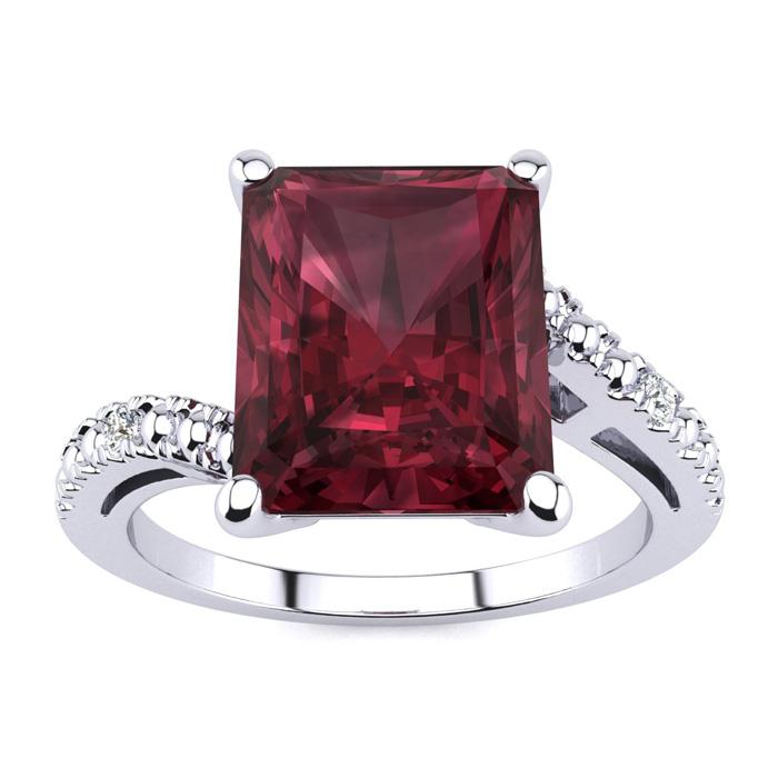 4ct Emerald Cut Garnet and Diamond Ring in 10k White Gold
