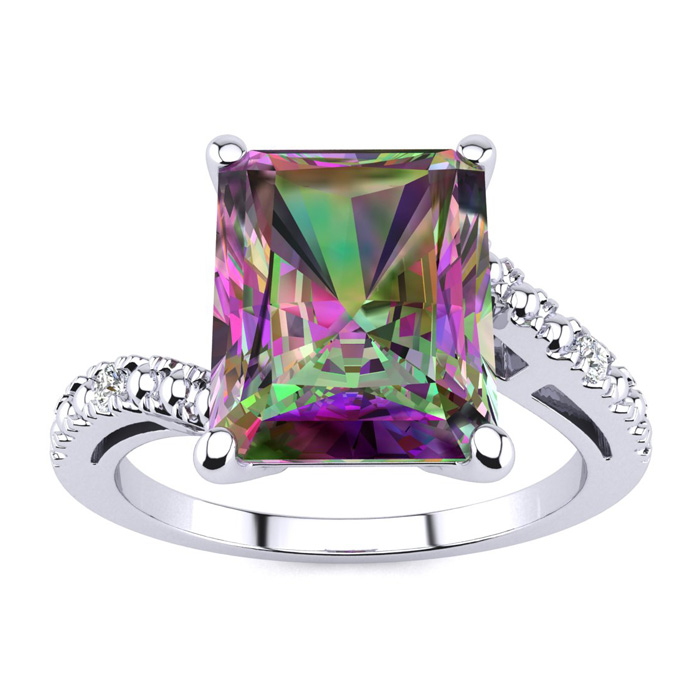4 Carat Octagon Mystic Topaz and Diamond Ring in 10k White Gold