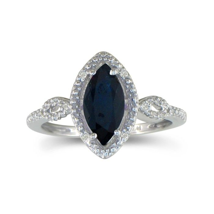3/4ct Marquise Sapphire and Diamond Ring in