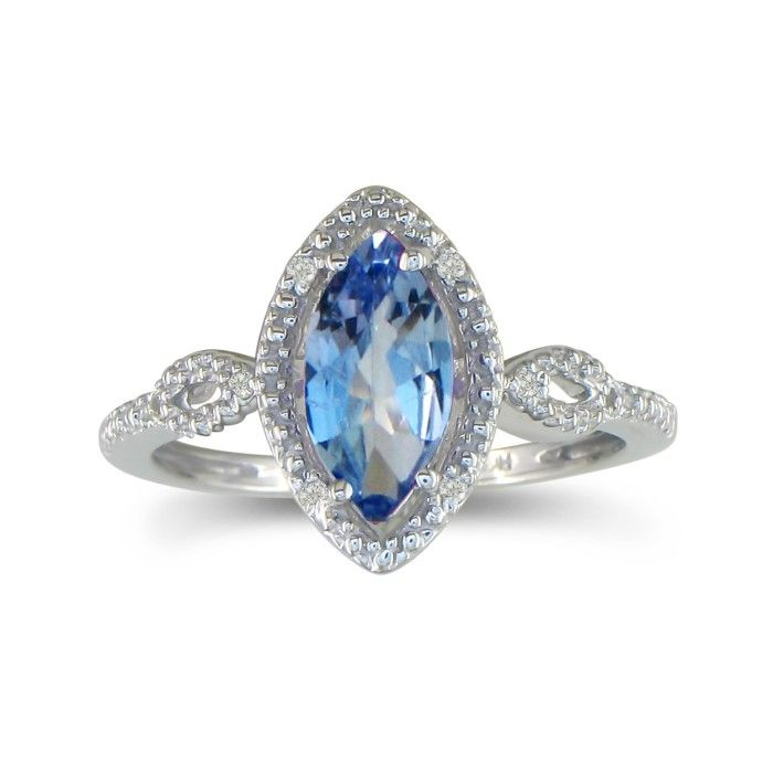 3/4ct Marquise Tanzanite and Diamond Ring in 10k White Gold ShopFest Money Saver