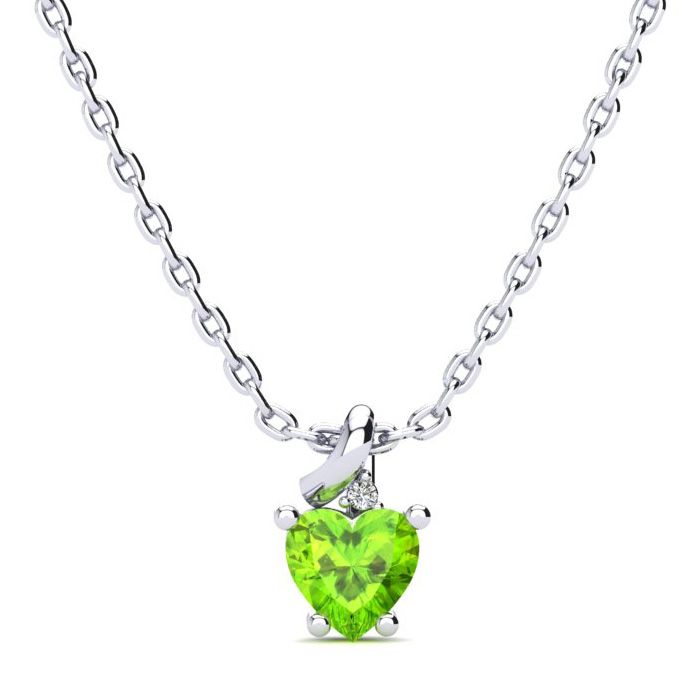 1/2ct Peridot and Diamond Heart Necklace in