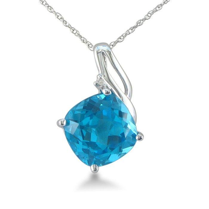 5ct Cushion Cut Blue Topaz and Diamond Pendant in 10k White Gold