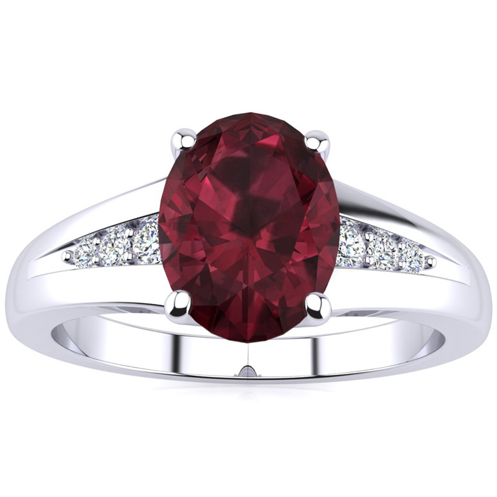 1 1/2ct Oval Garnet and Diamond Ring in 10k White Gold