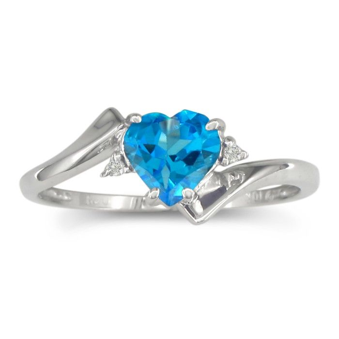1/2 Carat Heart Shaped Blue Topaz & Diamond Ring in White Gold (0.5 g),  by ..
