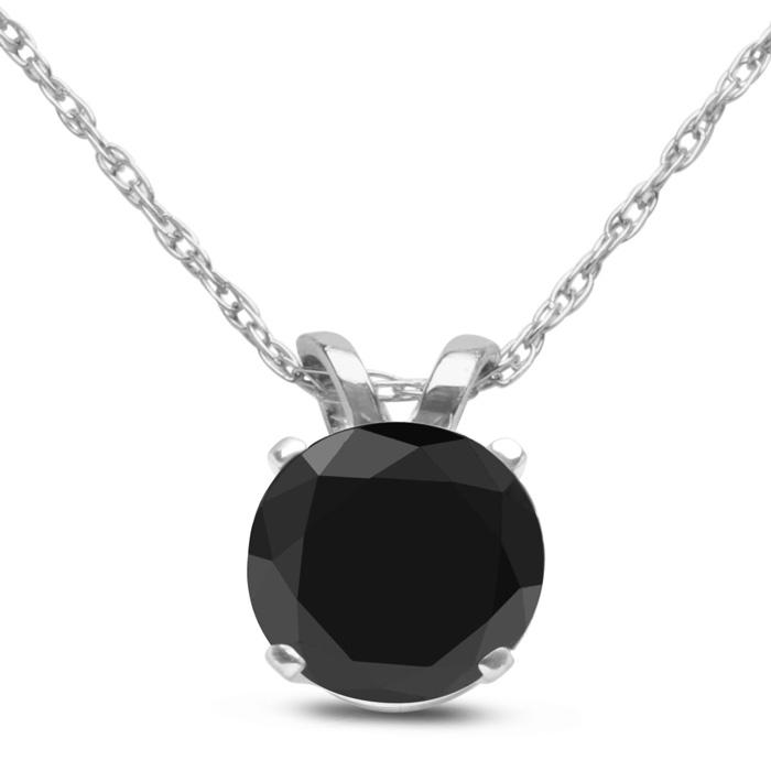 3/4ct Black Diamond Solitaire Pendant in 10k