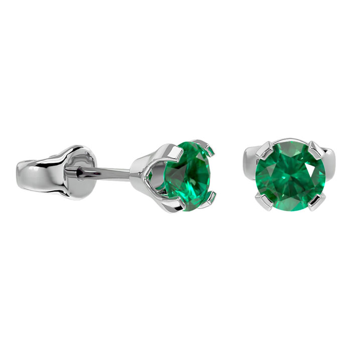Image of .50ct Emerald Stud Earrings in 14k White Gold