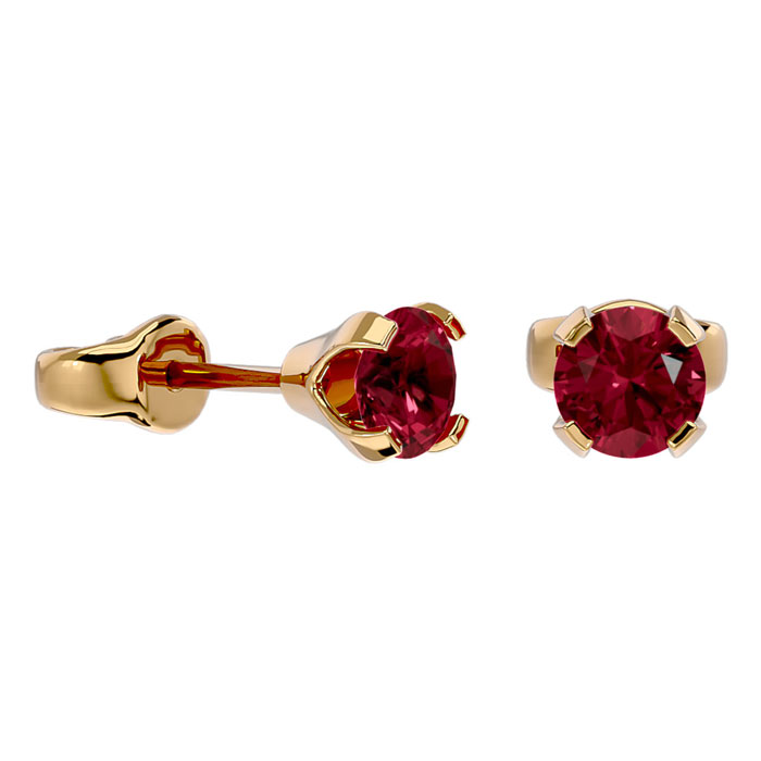 Image of .60ct Garnet Stud Earrings in 14k Yellow Gold