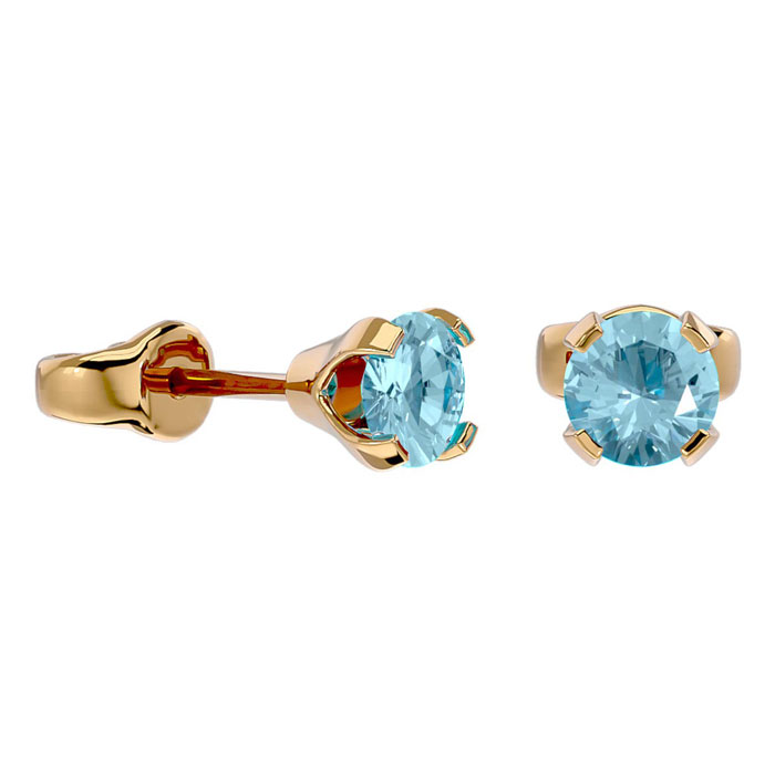 Image of .50ct Aquamarine Stud Earrings in 14k Yellow Gold