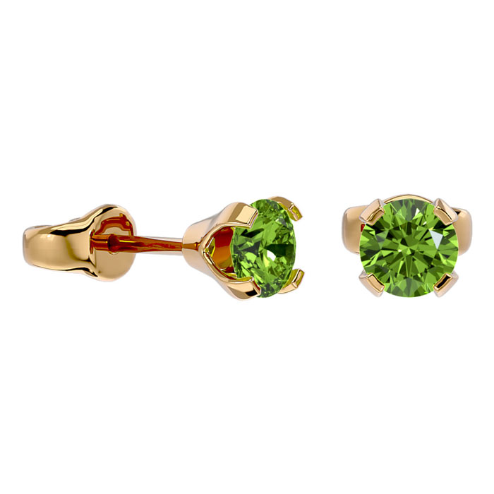 .50ct Peridot Stud Earrings in 14k Yellow Gold