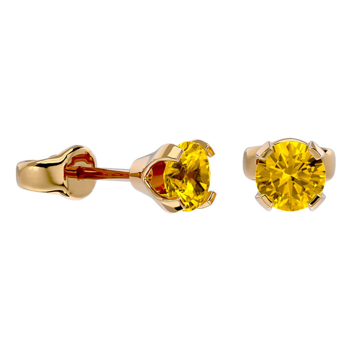 Image of .60ct Citrine Stud Earrings in 14k Yellow Gold