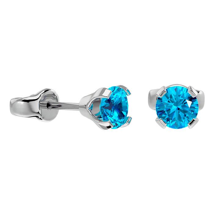 Image of .60ct Blue Topaz Stud Earrings in 14k White Gold