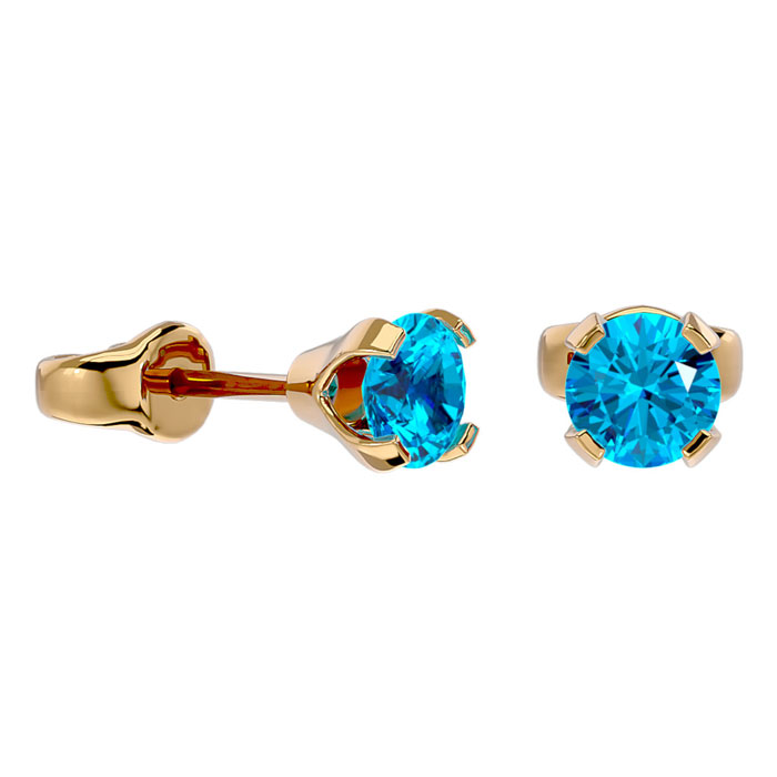 Image of .60ct Blue Topaz Stud Earrings in 14k Yellow Gold