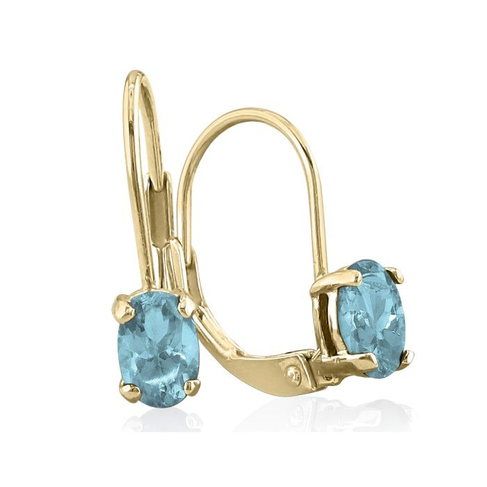 1ct Oval Aquamarine Solitaire Leverback Earrings in