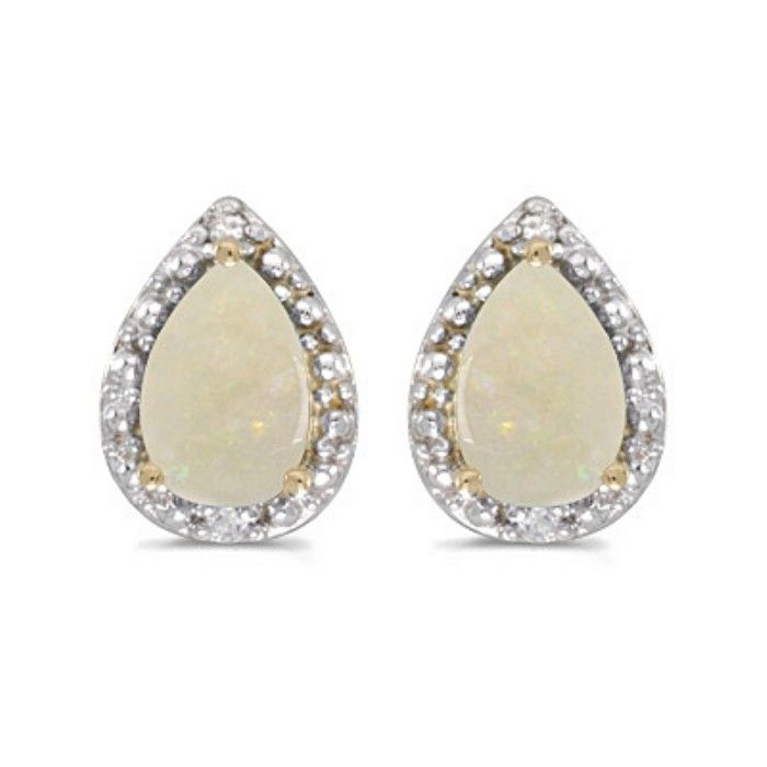 2/3ct Pear Opal And Diamond Earrings in 14k Yellow Gold