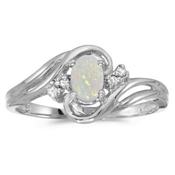 1/2ct Opal And Diamond Ring in 10k White Gold
