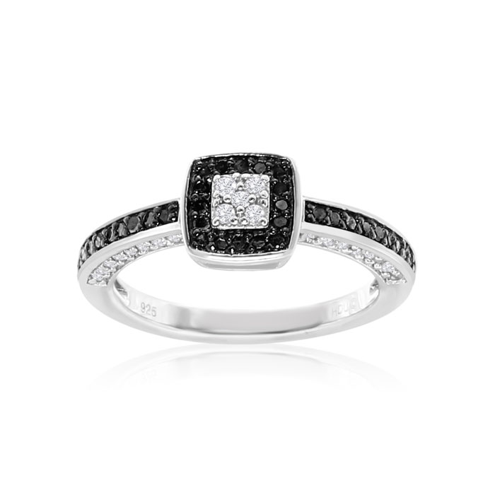 Image of .40ct White and Black Diamond Engagement Ring in Sterling Silver