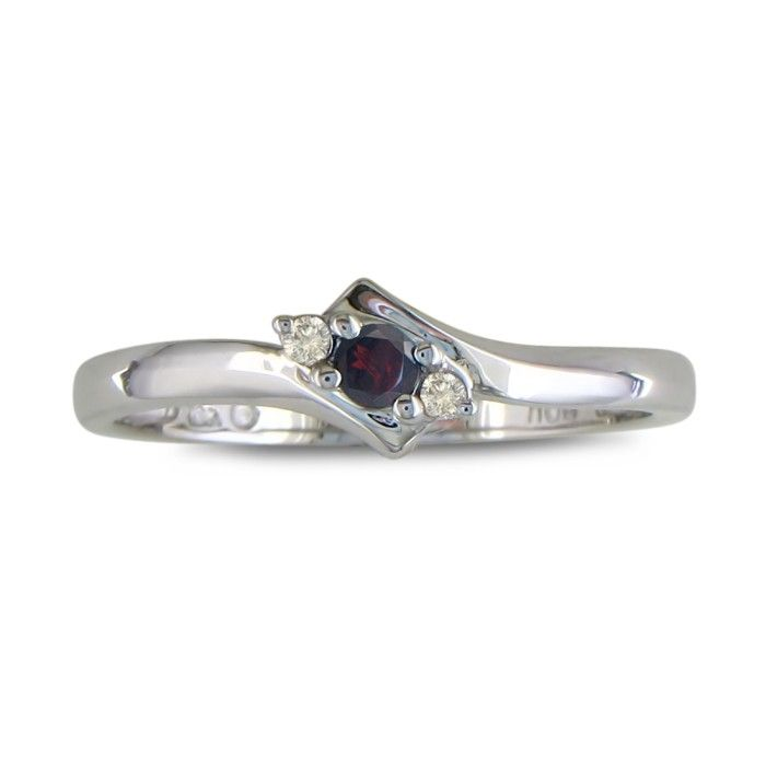 Dainty Bypass Garnet and Diamond Ring in 10k White Gold