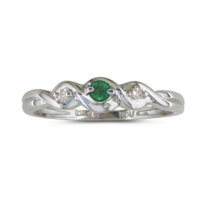 Dainty Three Stone Twist Emerald and Diamond Ring in 10k White Gold