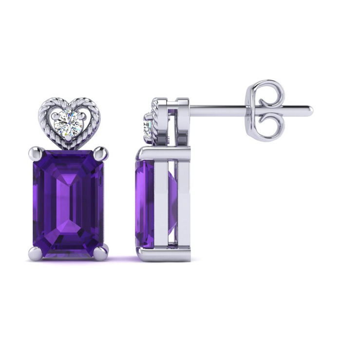 1ct Octagon Shape Amethyst and Diamond Earrings