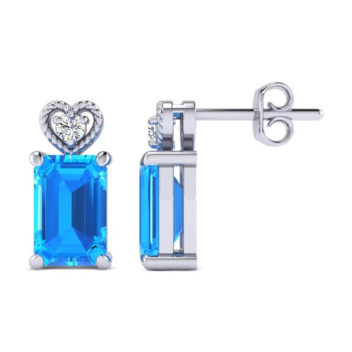 1ct Octagon Shape Blue Topaz and Diamond
