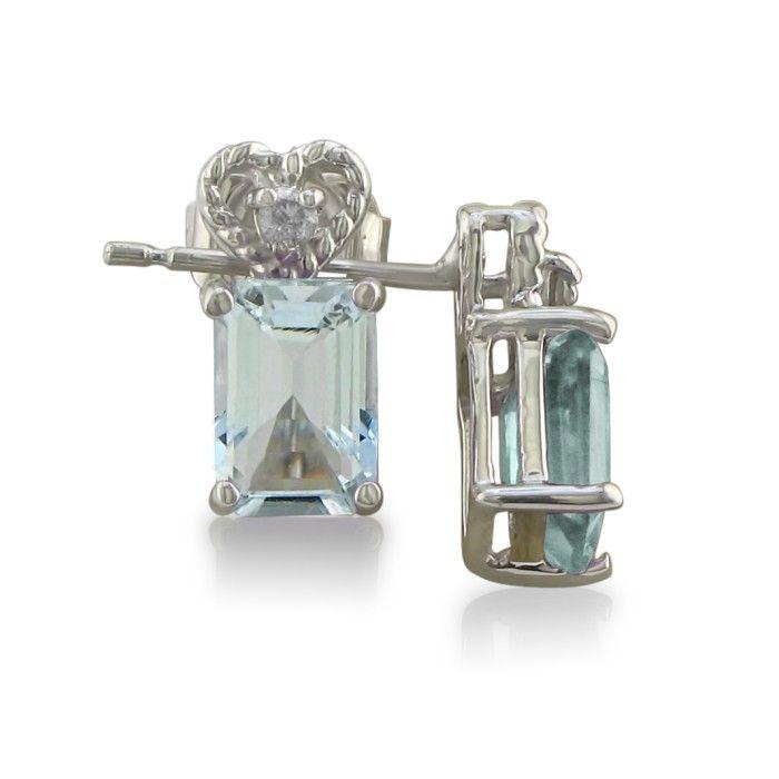 1ct Aquamarine and Diamond Earrings in 10k