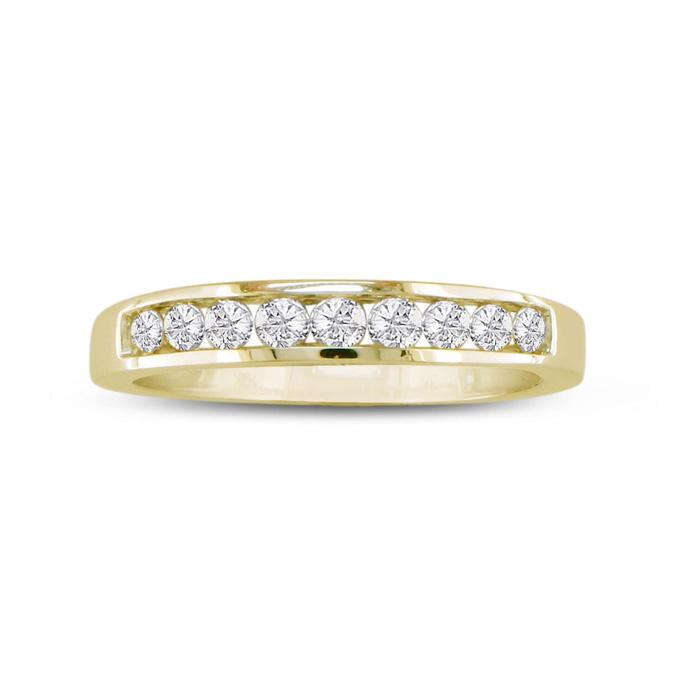 1/4ct Popular Channel Set Diamond Anniversary Band Ring, Yellow Gold