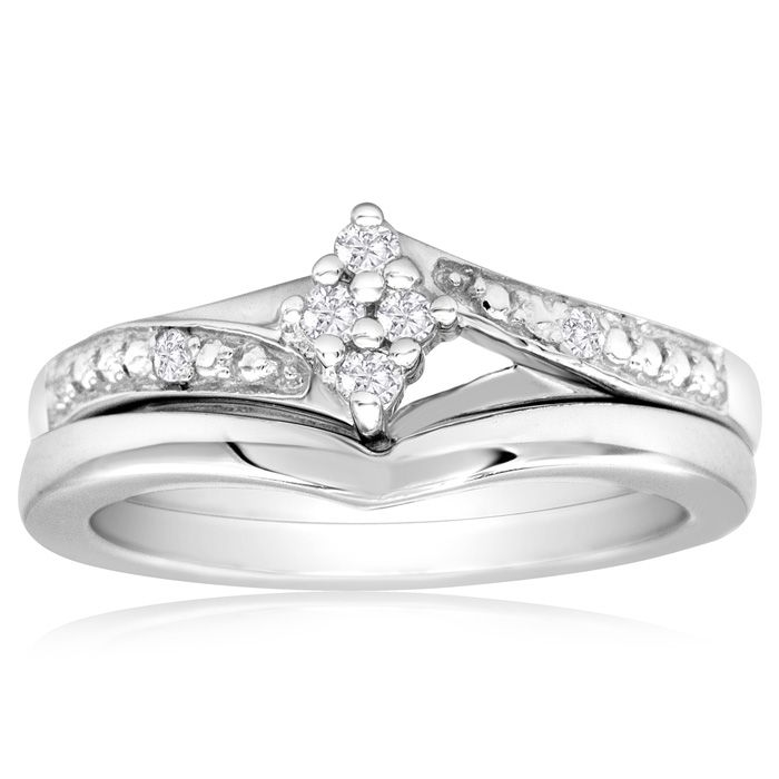 Finely Crafted Diamond Bridal Wedding Set in Sterling Silver, , Size 4 by SuperJeweler