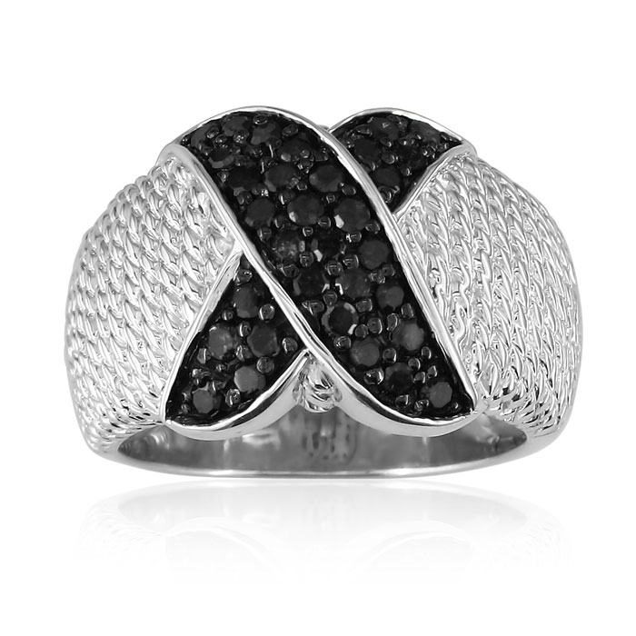 Image of 1/2ct Black Diamond Ropework Right Hand Ring in Sterling Silver