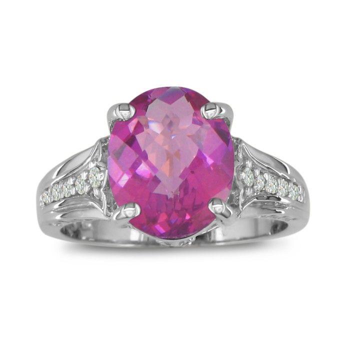 4 Carat Pink Topaz & Diamond Ring in 10k White Gold (4.3 g), I/J by SuperJeweler