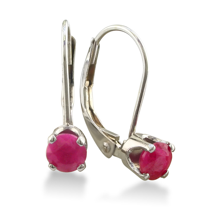 1/2ct Solitaire Ruby Leverback Earrings, 14k White