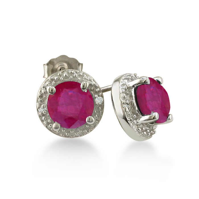 2ct Ruby Diamond Halo Earrings, 10k White Gold