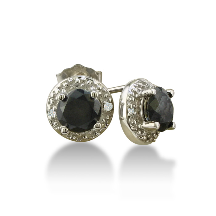 7655519a71779 1ct Black and White Diamond Earrings, 10k White Gold | SuperJeweler.com